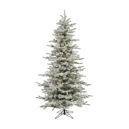 Vickerman Pre-Lit 4.5 Flocked Slim Sierra Artificial Christmas Tree, LED, Warm White Lights