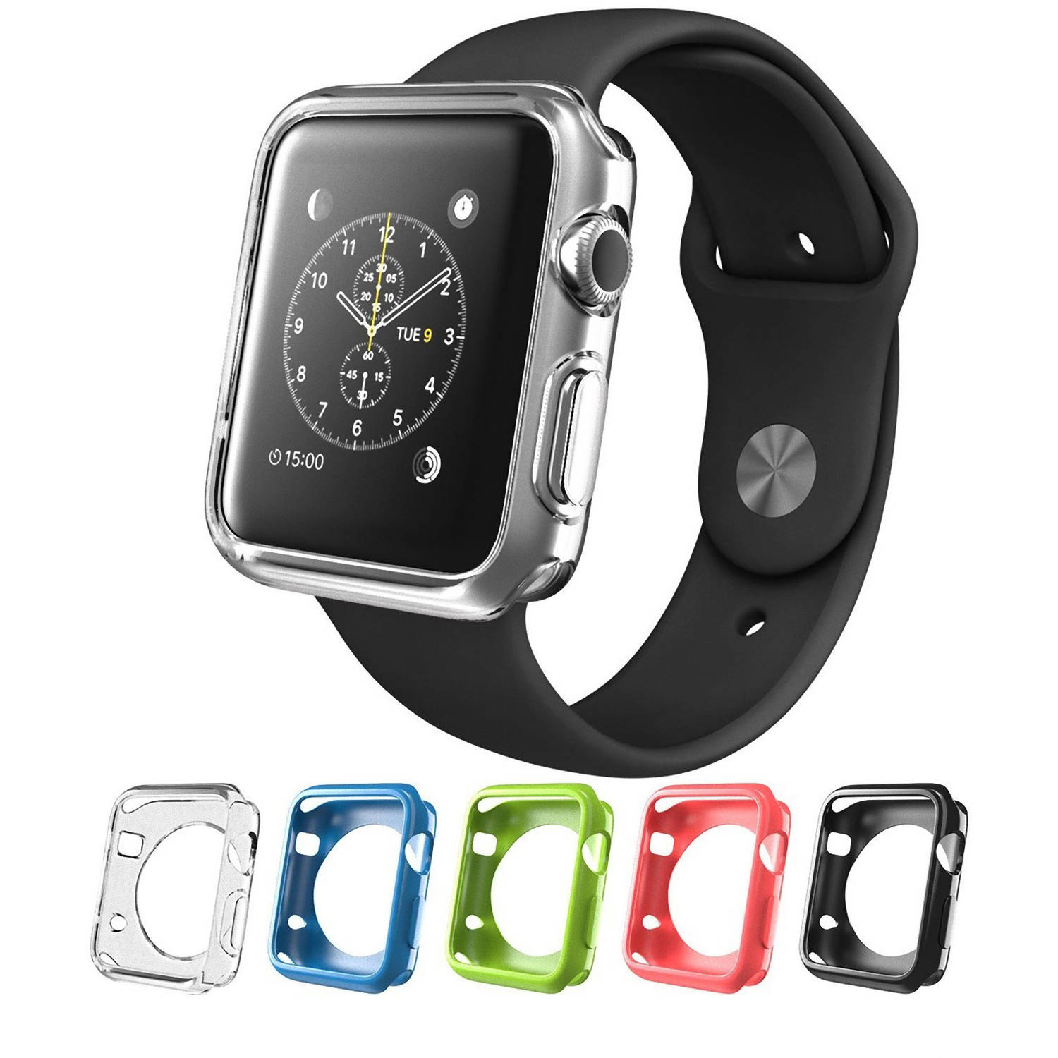 I-Blason iWatch 42mm Protective Cover 5 Pack - Black, Blue, Green, Pink, Clear