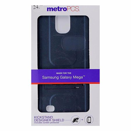Metropcs Dual Layer Kickstand Case For Samsung Galaxy Mega   Slate   White