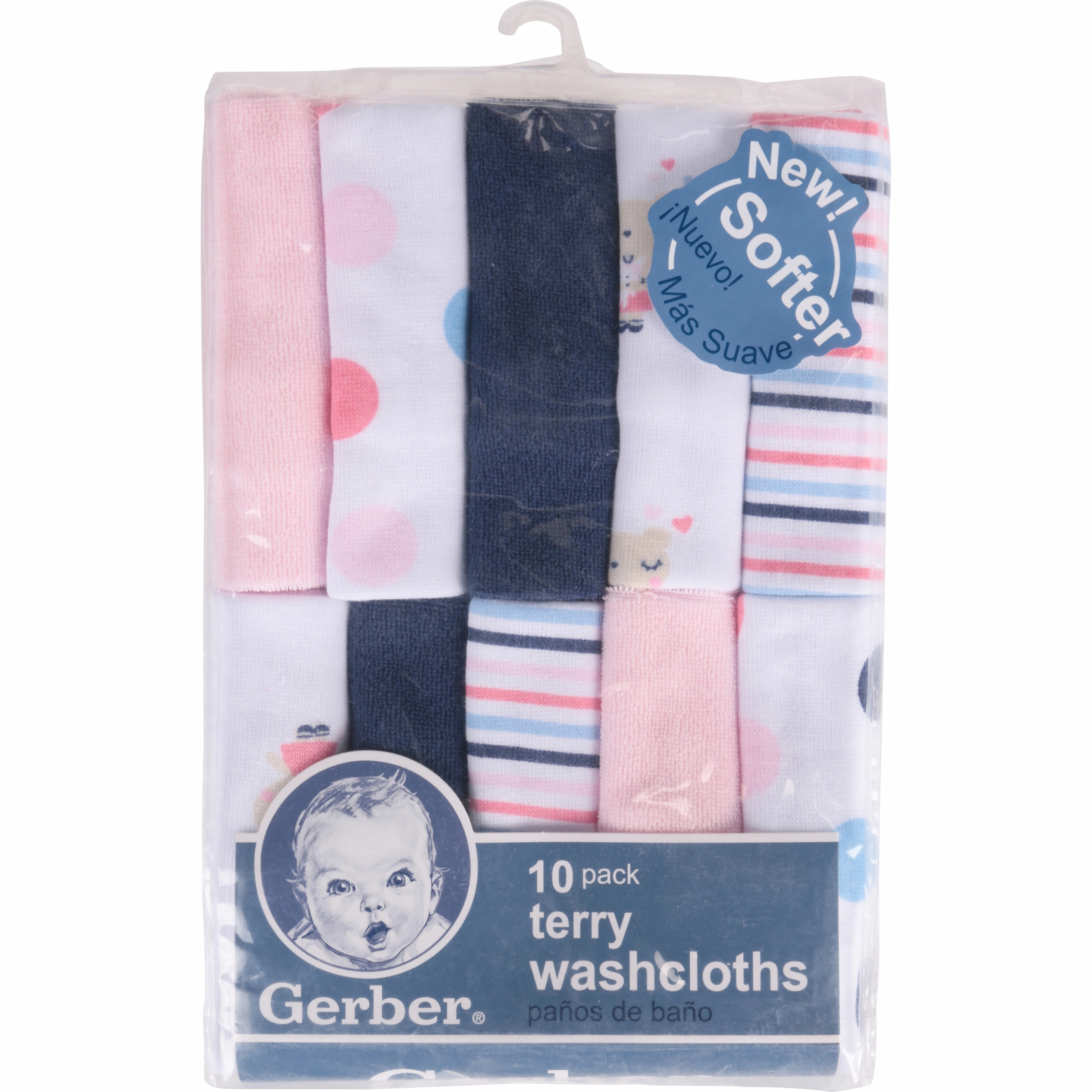 3a7412230 Newborn Baby Girl Assorted Terry Printed Washcloths, 10 Pack ...