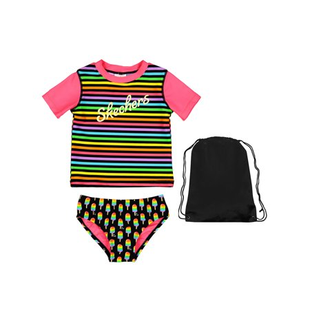 Skechers 2 Piece Girls Favorite Swimsuit Striped Short Sleeve Rash Guard Popsicle Bikini Bottoms and Bag 5 | Best Little Girls Bathing Suit |Black Pink, Red, Blue, Yellow, Orange, Green