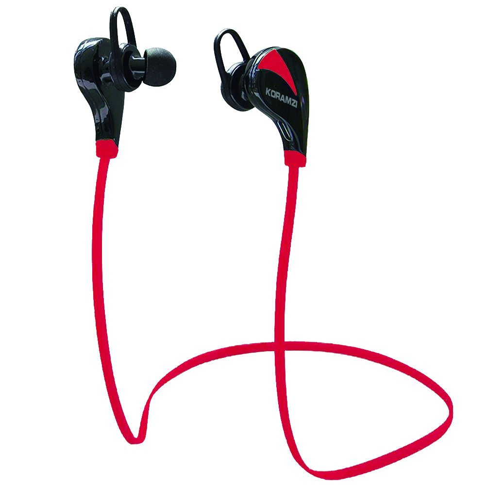 Koramzi Wireless Bluetooth Sport Earbuds Light weight Noise Cancelling Headphone With Mic And Volume Control Compatible With Any Bluetooth Enabled Devices, Bluetooth 4.0 (Red)