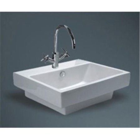 - Vitreous China Semi-Recessed Sink - PreDrilled 8