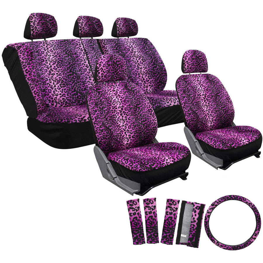 OxGord 17-Piece Set Leopard Animal Print Auto Seat Covers Set, Front Low Back Buckets, Rear Split Bench, Purple
