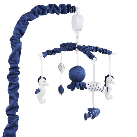 Navy Blue Digital Musical Crib Mobile With Sea Creatures By The Peanut Shell Baby Nautical