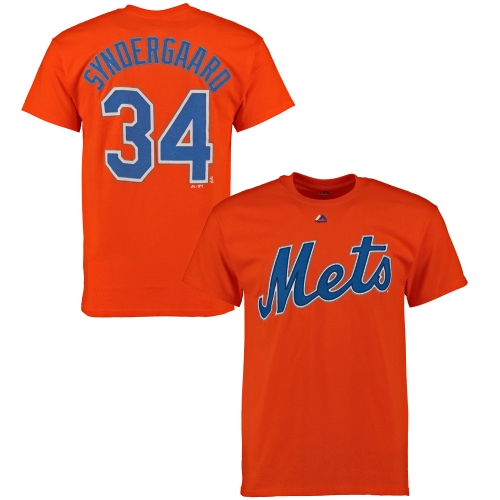 Noah Syndergaard New York Mets Majestic Official Name and Number T-Shirt - Orange