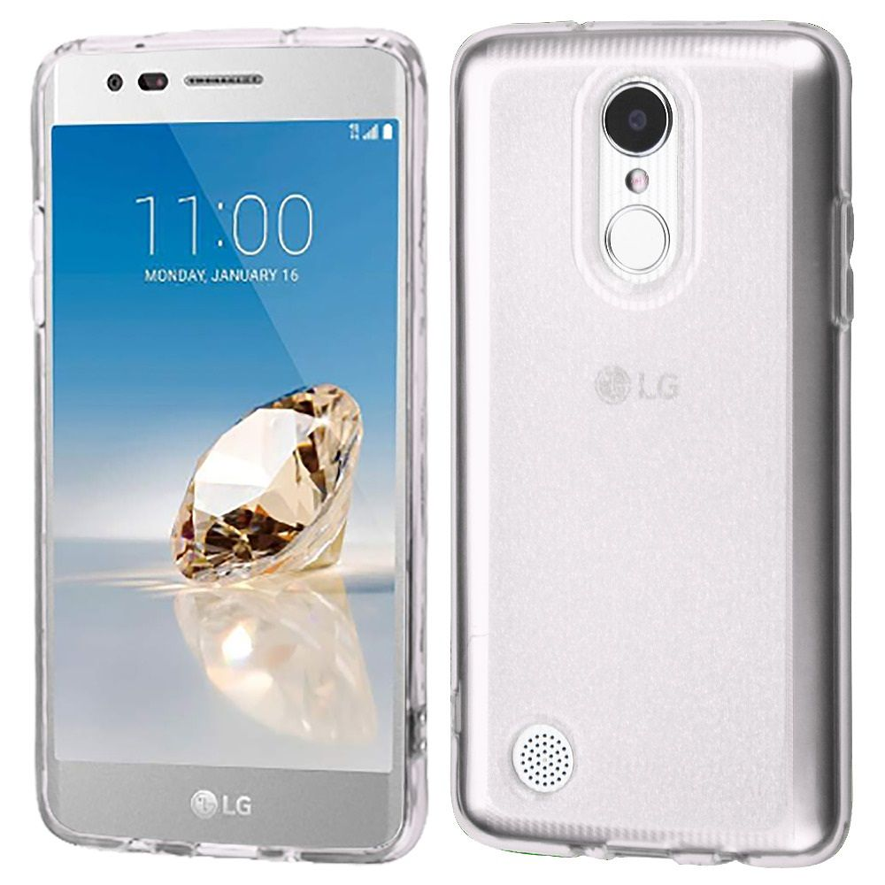 Insten Transparent Sheer Glitter Premium TPU Candy Skin Case For LG Aristo/Fortune/K4 (2017)/K8 (2017)/Phoenix 3 - Clear (Bundle with Micro USB Cable)