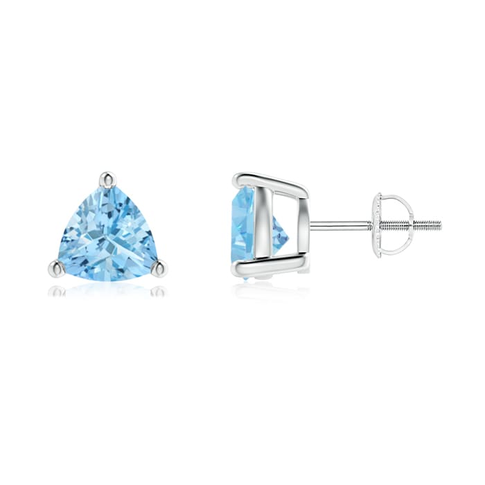 Angara Basket-Set Aquamarine Stud Earrings in Platinum v0ShCLkK