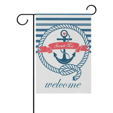 POPCreation Blue White Nautical Emblem With Anchor Garden Flag Decorative Holiday Home Flag 12x18 - Decorative Nautical Flags
