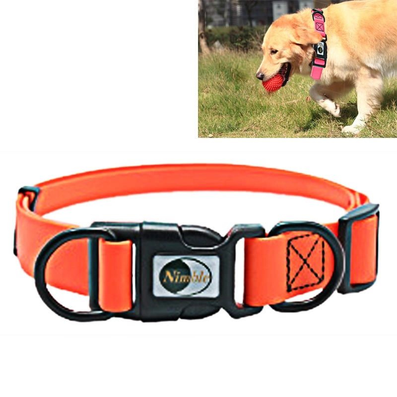PVC Material Waterproof Adjustable Dual Loop Pet Dogs Collar, Suitable for Ferocious Dogs, Size: M, Collar Size: 30-47 cm - Orange