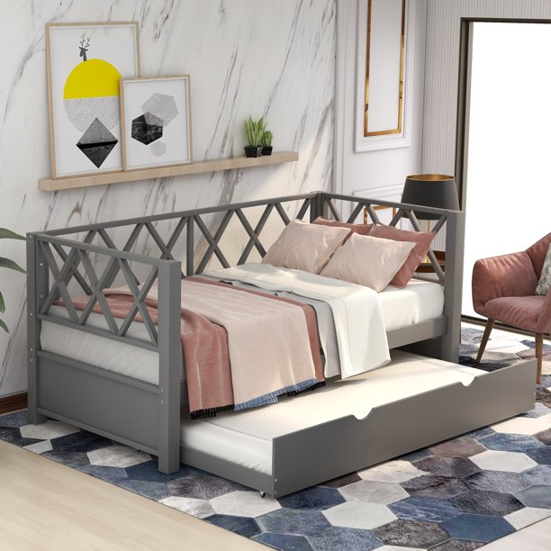 Wooden Daybed Frame Twin Size, Daybed with a Trundle, Dual ...