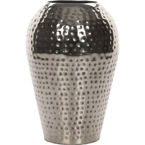 Elegant Expressions by Hosley Hammered Metal Vase, Silver