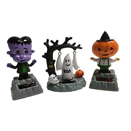 Solar Powered Bundle Set of 3 Dancing Moving Halloween Figures: Pumpkin Head Creature, Swinging Ghost, Frankenstein Monster (Pumpkin Head Halloween Dance)