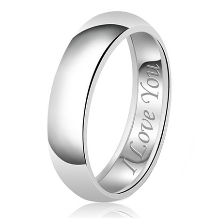 7mm I Love You Engraved Classic Sterling Silver Plain Wedding Band Ring