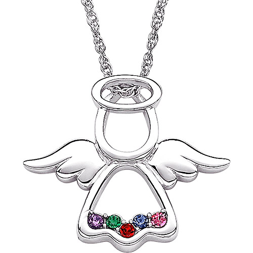 Personalized Family Birthstone Angel Sterling Silver Pendant