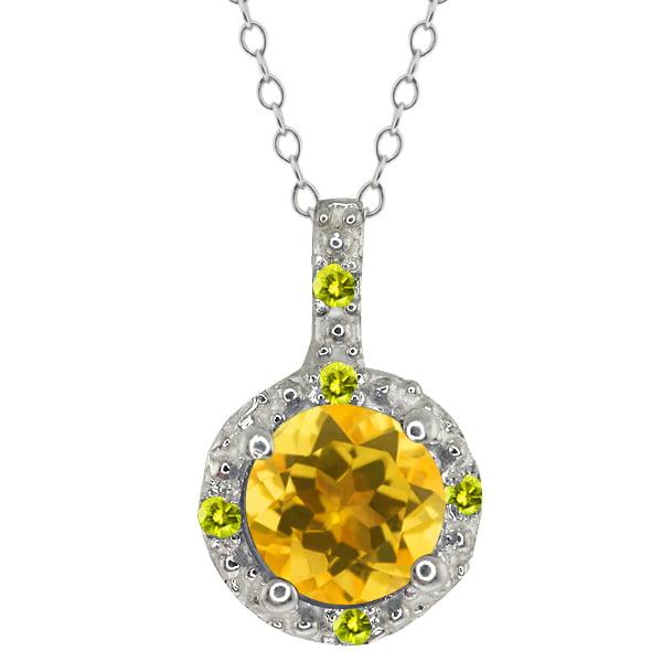 0.48 Ct Round Yellow Citrine and Canary Diamond 14k White Gold Pendant