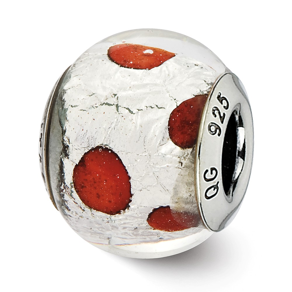 Sterling Silver Reflections Italian Murano Silver & Red Glass Bead