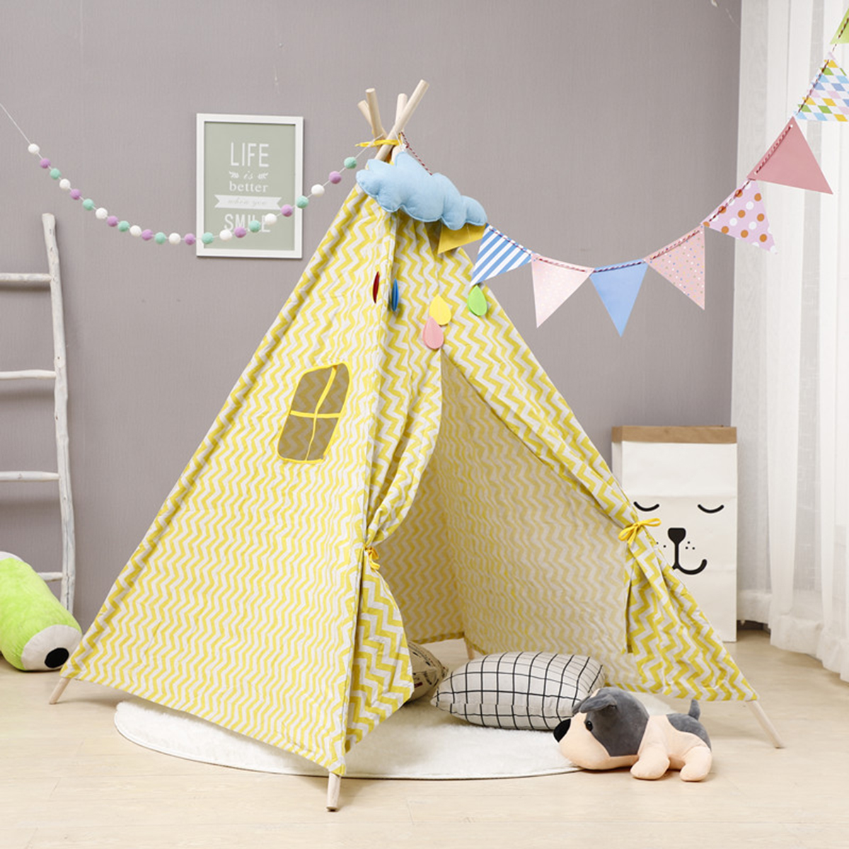 Large Teepee Tent Kids Cotton Canvas Pretend Play House Boys Girls Wigwam Gifts