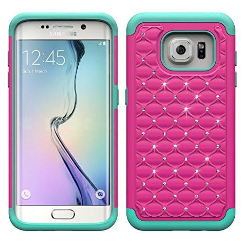 Samsung Galaxy S6 Edge Plus Case, Crystal Rhinestone Hybrid Dual Layer Case for Galaxy S6 Edge Plus - HotPink/Teal