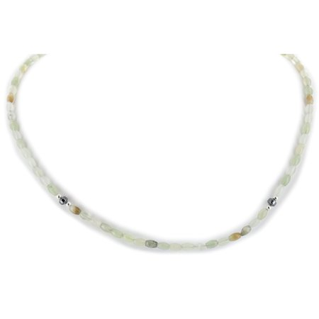 - Delicate $200 Retail Tag Authentic Made by Charlene Little Navajo .925 Sterling Silver Natural Jade Hematite Chain Native American Necklace
