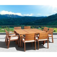 Atlantic Amazonia Albany 9-piece Wood Square Dining Set with Cushions