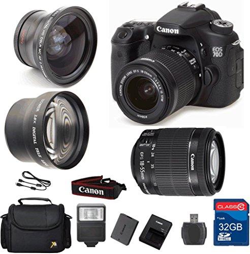 Canon 70D DSLR Camera + 18-55 IS STM Lens + Wide Angle Le...