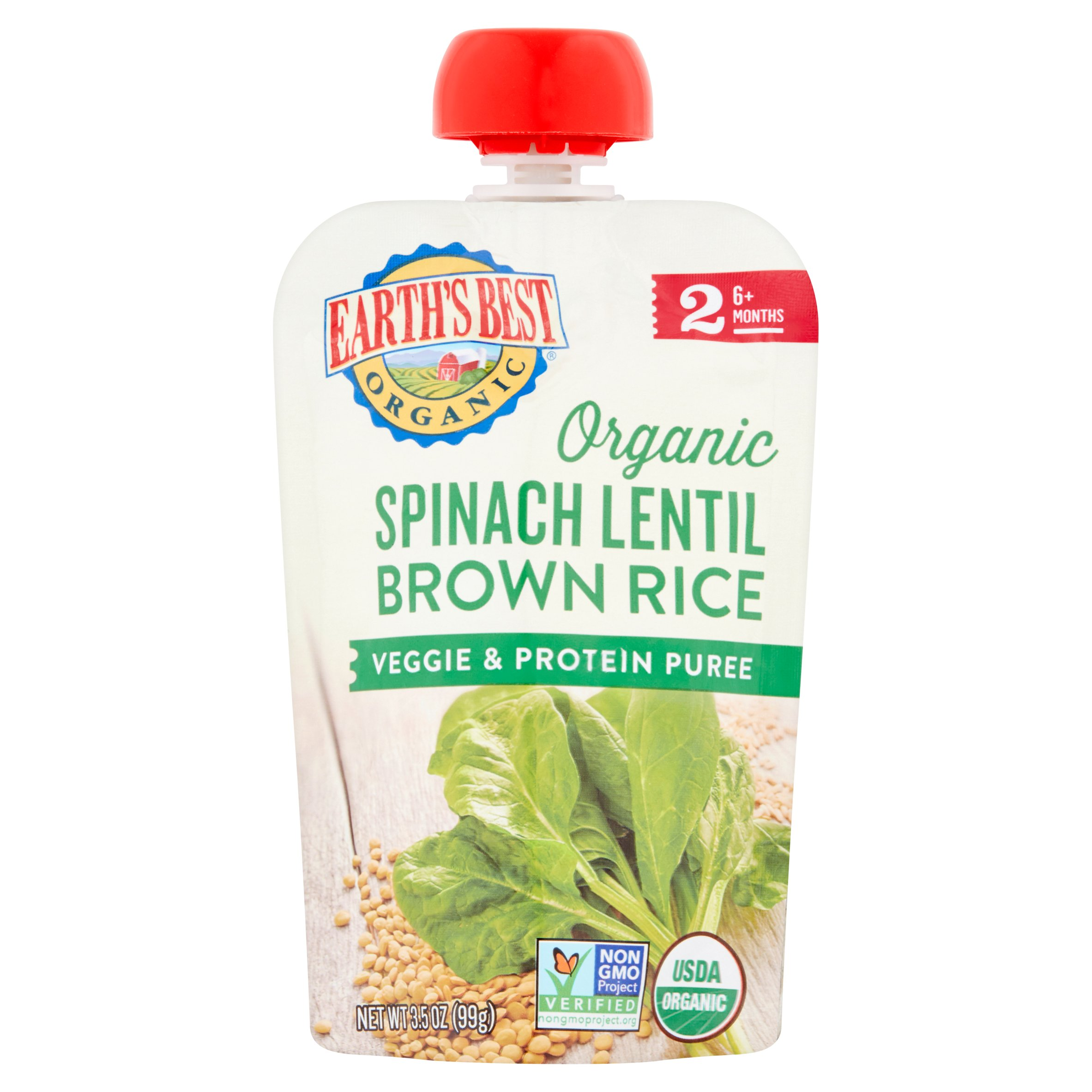 Earth's Best Organic Baby Food Spinach Lentil Brown Rice Veggie, 3.5 oz, 6 pack