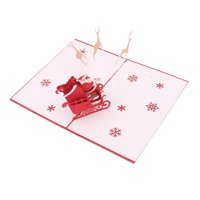 Christmas Paper 3D Santa Ride Running Deer Design Celebrating Greeting Card Red