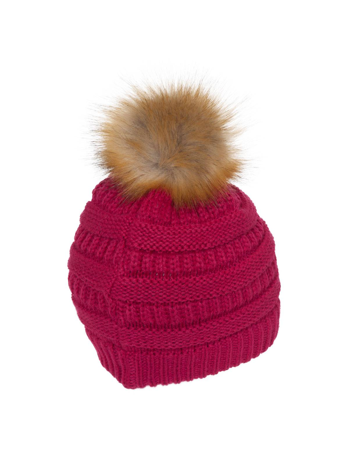 7dae9afed Gravity Threads Cable Knit Faux Fur Pom Pom Beanie Hat
