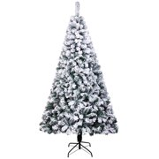 Ktaxon 7ft Artificial Christmas Tree, Snow Flocked Hinged Pine Tree, Premium PVC Needles/Solid Metal Stand, Xmas Full Tree for Indoor and Outdoor