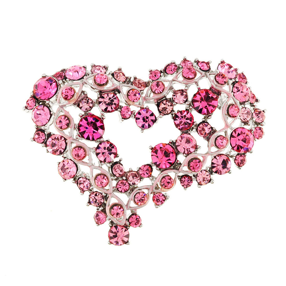 Pink Crystal Heart Pin Brooch by