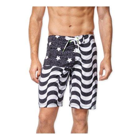 3e263de0f1 Speedo - Speedo Mens Flag Print Swim Bottom Board Shorts blackwhite 36 -  Walmart.com