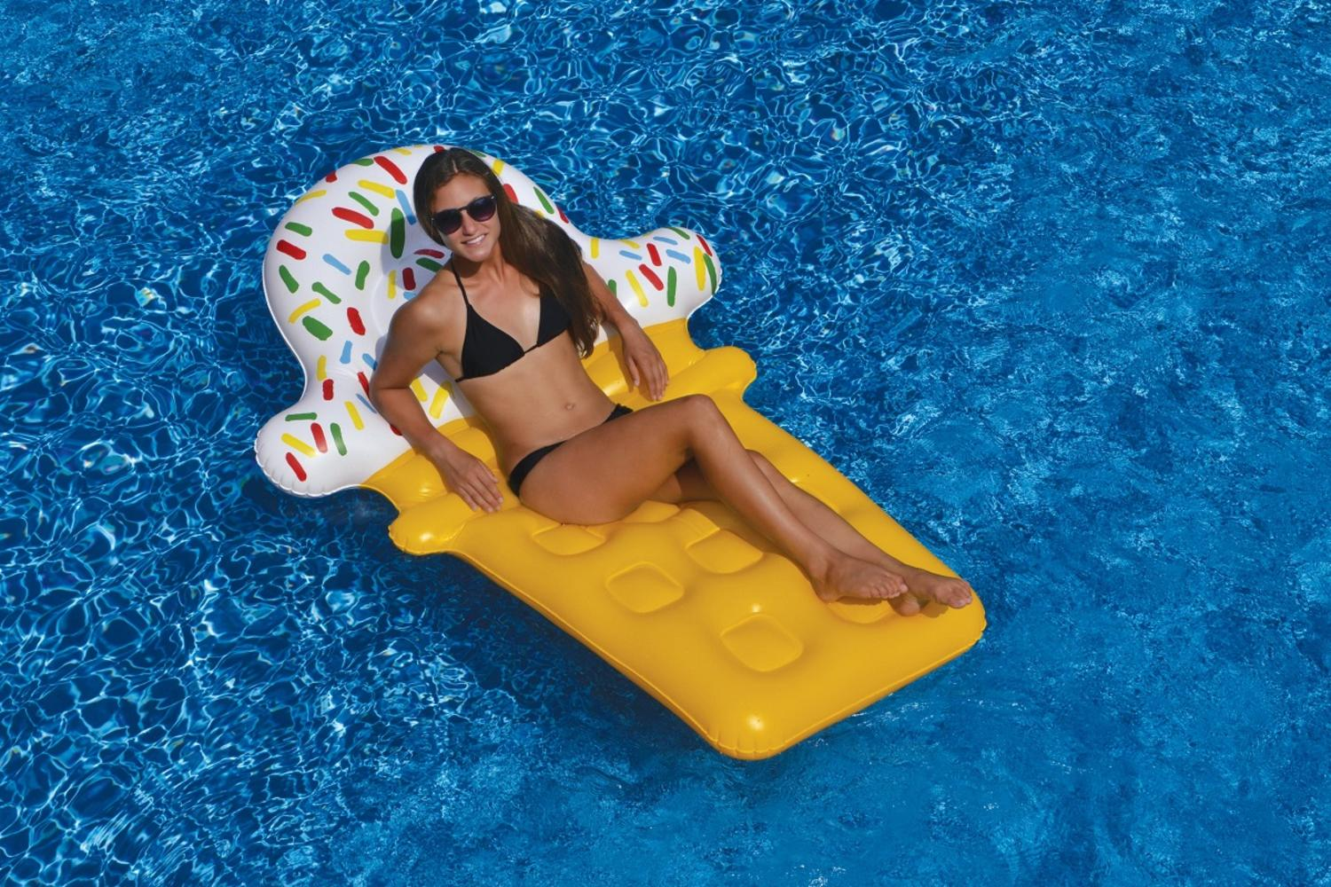 """74"""" Novelty Yellow and White Ice Cream Cone Inflatable Swimming Pool Floating Lounge Raft by Swim Central"""