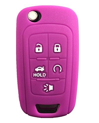 LemSa 2pcs Silicone 5 Button Smart Key Fob Cover Remote Keyless Entry Bag Compatible with Chevrolet Chevy Malibu Camaro Cruze Traverse Sonic Volt Bolt Equinox 2016-2020 Black Blue