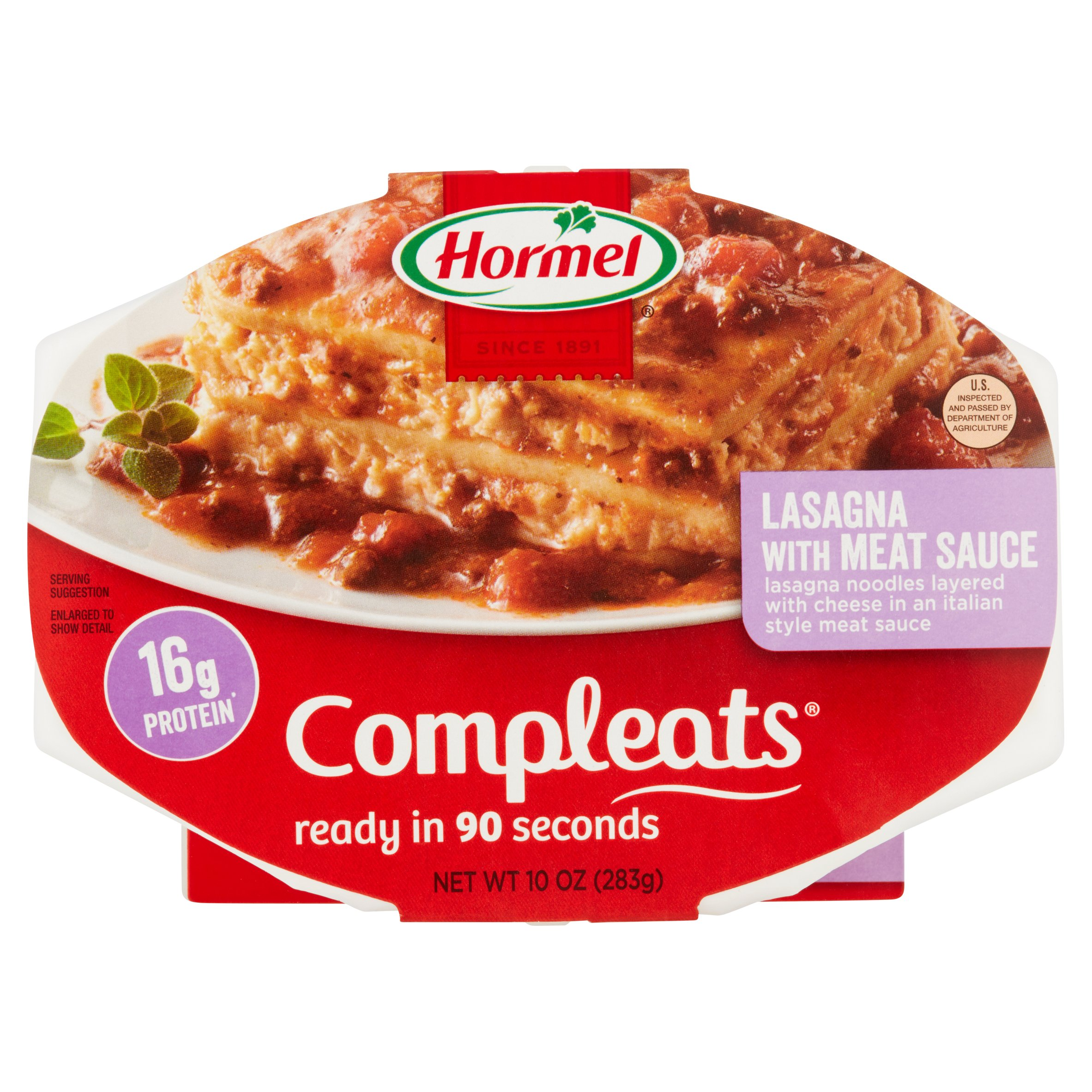 Hormel Compleats Lasagna with Meat Sauce 10 oz Sleeve