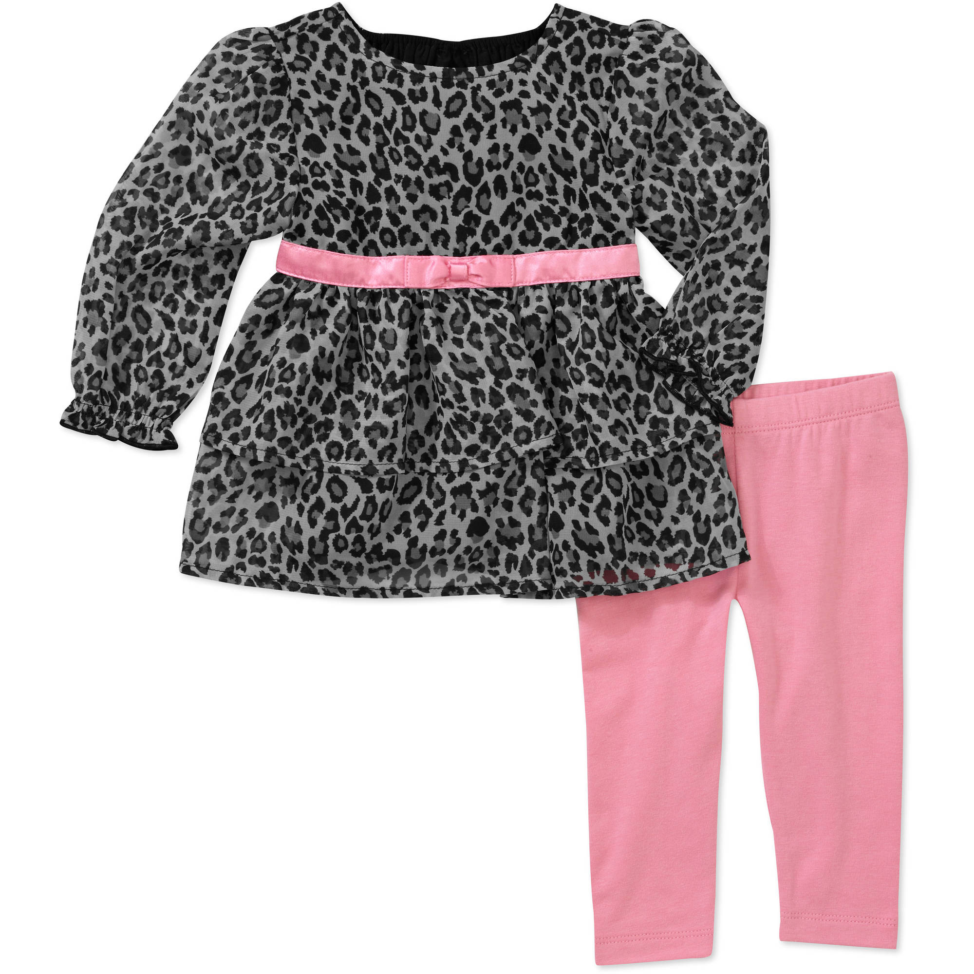 Faded Glory Newborn Girls' Chiffon Tunic with Legging Set