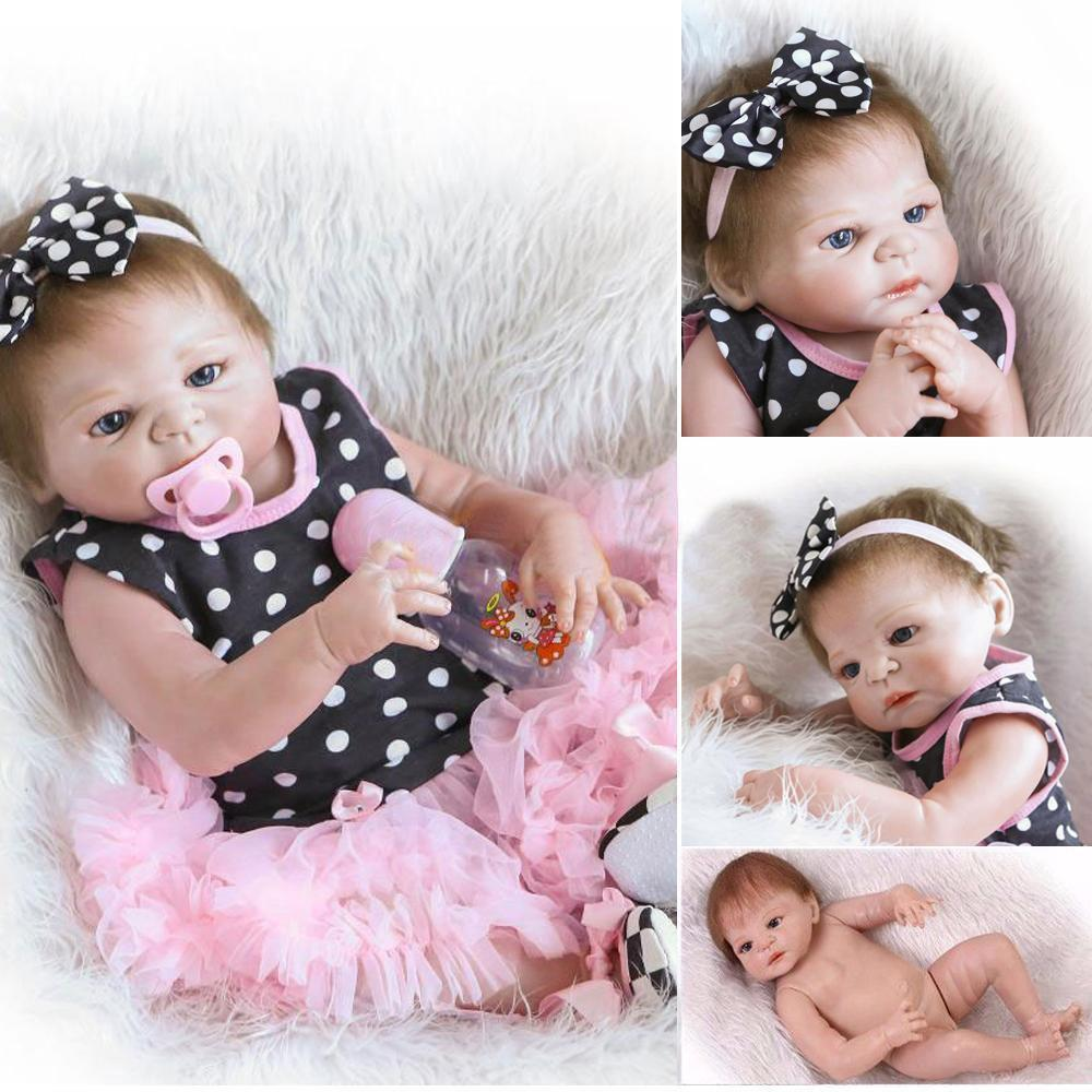 "Handmade Full Silicone Body Baby Dolls Newborn Vinyl Reborn Lovely Girl Doll 23/"""