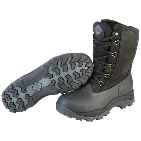 Muck Boot Men's 13'' Arctic Outpost Lace Mid Boots Black Leather Rubber Fleece 12 M Shadow Weather Boots
