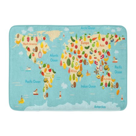 GODPOK Healthy Food Fruit World Map and Vegetables Preschool Baby Continents Oceans Drawn Earth Global Vegan Rug Doormat Bath Mat 23.6x15.7 inch (School Rugs)