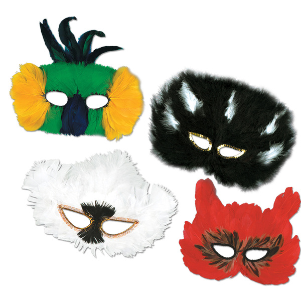 Beistle - 50130 - Classic Fanci-Feather Mask Asst- Pack of 12
