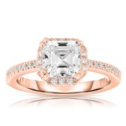 Collette Z  Rose Gold Cubic Zirconia Halo Emerald Cut Ring