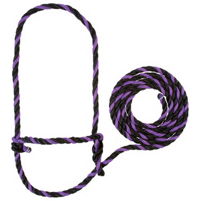 Weaver Leather 35-7901-PU-BK 7 ft. Poly Rope Halter - Cow Size, Purple & Black