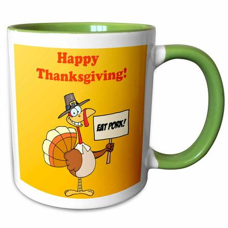 3dRose Happy Thanksgiving Turkey - Two Tone Green Mug, 11-ounce ()