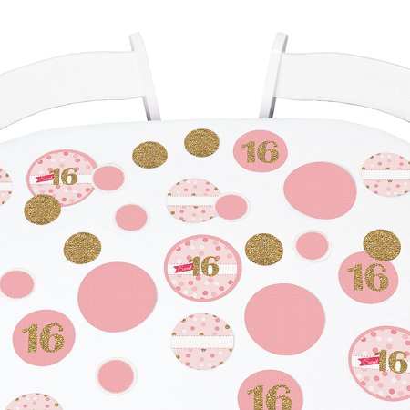 Sweet 16 - Party Table Confetti Set - 27 Count (Pink And Gold Sweet 16)