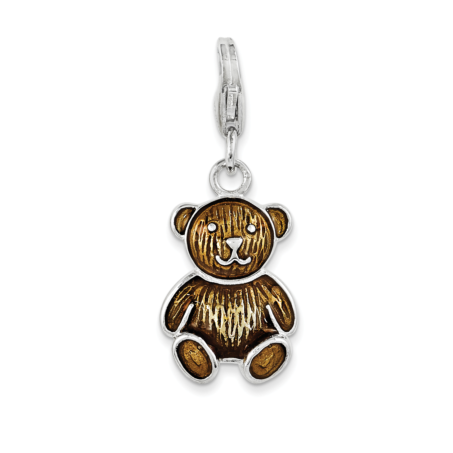 Amore La Vita 925 Sterling Silver Enameled Teddy Bear w// Lobster Clasp Charm