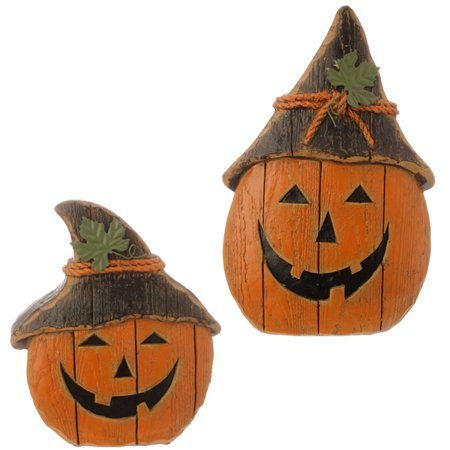 Set of 2 Rustic Distressed Finish Jack-O-Lantern Halloween Decorations 12.5