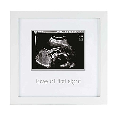 Pearhead Love at First Sight Sonogram Keepsake Frame - Perfect Gift for Expecting Parents, White