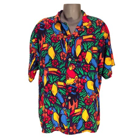 Tropical Birds Hawaiian Shirt Ace Ventura Pet Detective Thomas Magnum PI (Skipper Costume Gilligan's Island)