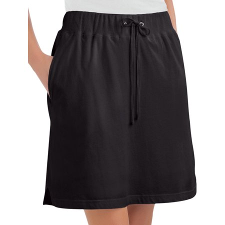 Women's Drawstring Cotton Knit Pull-On Skort with Elastic Waistband - Casual Summer Apparel, Xx-Large, Black