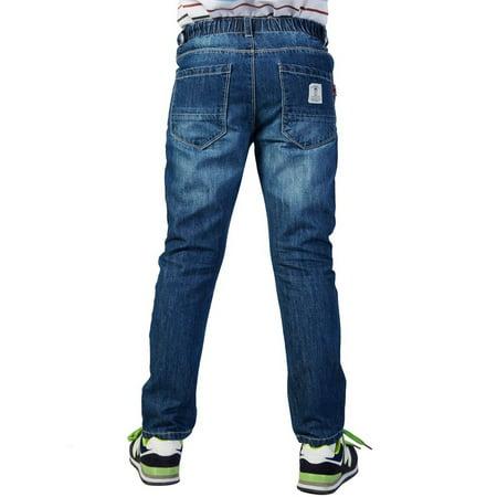 Leo&Lily Boys' Husky Waist Regular Fit Thin Jeans Pants